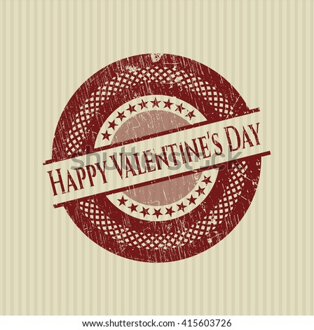 Happy Valentine's Day rubber grunge stamp