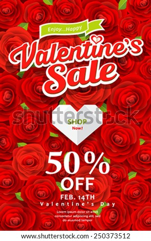 Happy Valentine's day sale on red rose background, vector illustrations - stock vector