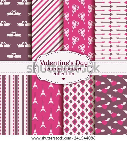 Happy Valentine's Day! Set of love and romantic backgrounds. Collection of seamless patterns with purple, pink and white colors. Vector illustration. - stock vector