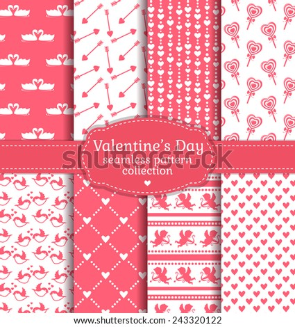 Happy Valentine's Day! Set of love and romantic backgrounds. Collection of seamless patterns with white and pink colors. Vector illustration. - stock vector