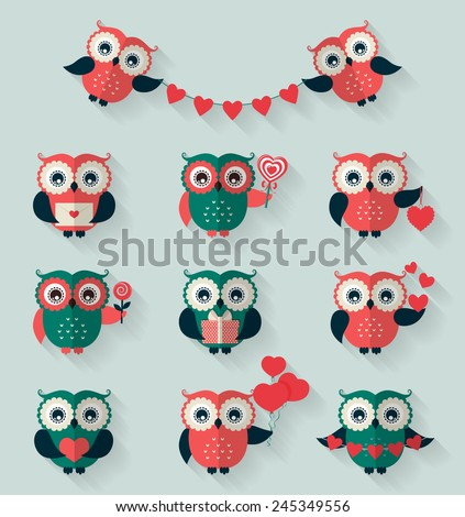 Happy Valentine's Day! Set of retro flat owls for love, wedding or romantic design. Vector icons isolated on blue background. - stock vector