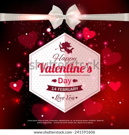 Happy Valentine's day typographical glow holiday background with shining soft hearts and  blurred bokeh lights with place for text. - stock vector