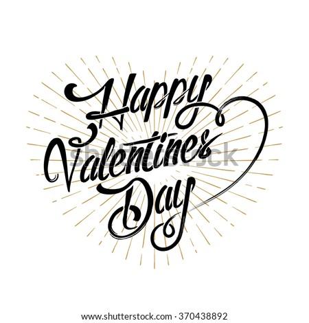 Happy Valentine's Day Typographical Hand Drawn Background - stock vector