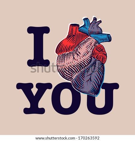 Happy Valentine's Day. Vector illustration with human heart.