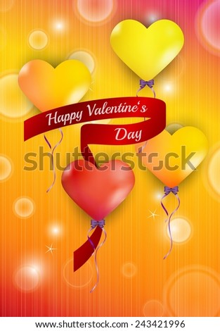 happy valentine`s day with color balloons hearts on color background - stock vector
