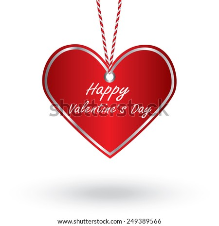 Happy Valentine's Day with hanging heart. vector illustration
