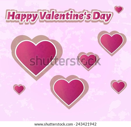 happy valentine`s day with hearts on pink background - stock vector