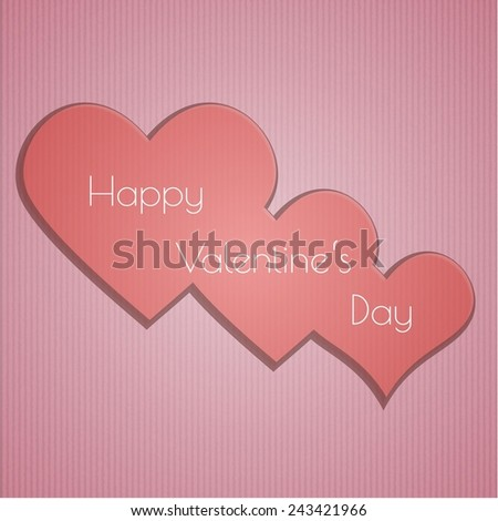 happy valentine's day with hearts on pink cardboard background - stock vector