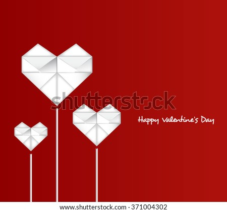 Happy Valentine's Day with paper heart-Vector Illustration - stock vector