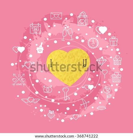 Happy Valentine's day with Valentine's day icon symbols. Template of Valentine's day poster, icon, banner, Valentine's day greeting card, Valentine's day print and web projects. I love you. - stock vector