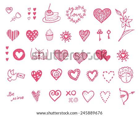 Happy Valentine's doodle set. Hand drawn vector hearts. - stock vector