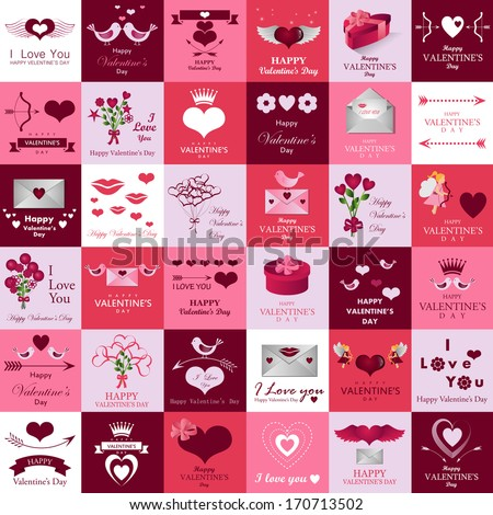 Happy Valentines Day And Weeding Card - Isolated On Background - Vector Illustration, Graphic Design Editable For Your Design.  - stock vector