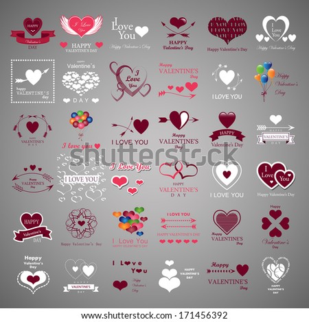 Happy Valentines Day And Weeding Cards - Isolated On Gray Background - Vector Illustration, Graphic Design Editable For Your Design. - stock vector
