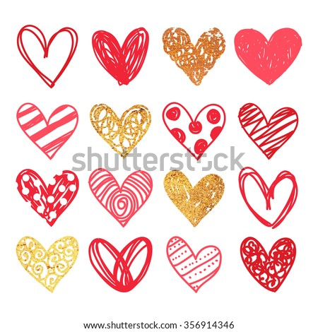 Happy valentines day and weeding design elements. Vector illustration. Background With Ornaments, Hearts. Doodles and curls.