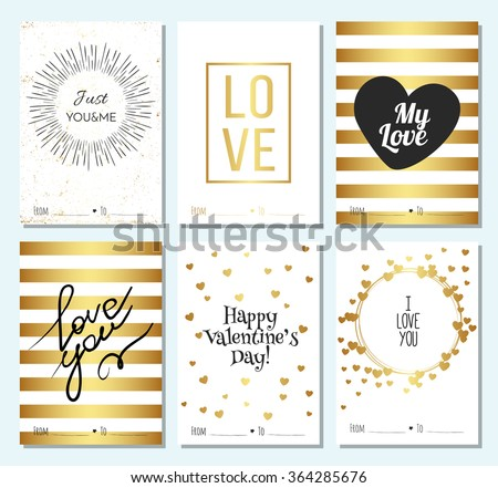 Happy valentines day and weeding design elements. Vector illustration invitation, menu, flyer, template. Set of cards With gold Ornaments, Hearts. Doodles and curls. Just me and you. Love. - stock vector