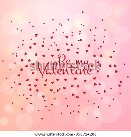 Happy valentines day and weeding design elements. Vector illustration. Pink Background With Ornaments, Hearts. Doodles and curls. Be my Valentine. - stock vector