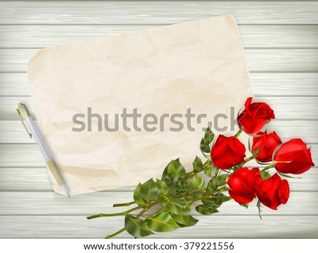 Happy Valentines day. Beautiful red rose and gift bow on wooden background. EPS 10 vector file included