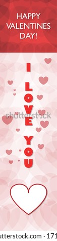 Happy Valentines Day Book Marker, Long Vertical Design - stock vector