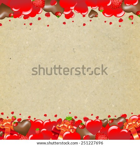 Happy Valentines Day Border With Heart With Gradient Mesh, Vector Illustration - stock vector