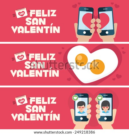 Happy Valentines day card. 3 banner for Valentines Day promotion. Toast, fried egg and mobiles - stock vector