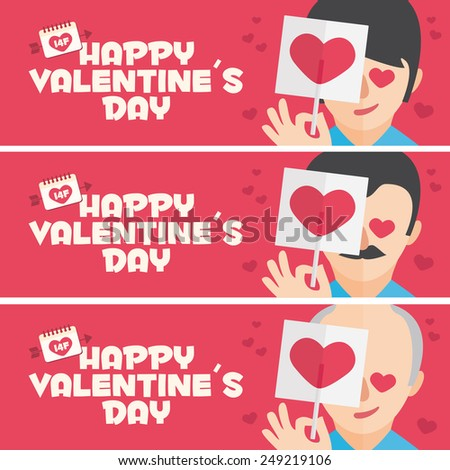 Happy Valentines day card. 3 banner for Valentines Day promotion. Young, Adult and Grandfather with lollipop - stock vector