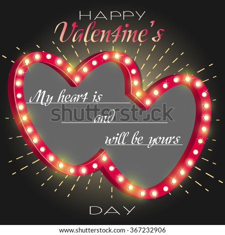 Happy Valentines Day Card Design. 14 February. neon light  gold hearts with sunburst. Vector template of invitation, flyer, poster or greeting card. retro backdrop. vector illustration  - stock vector