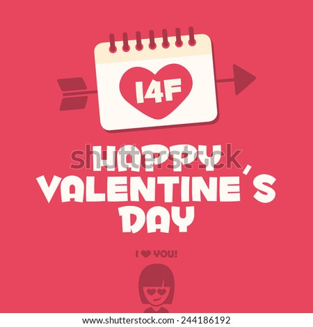 Happy Valentines day card. I love you baby - stock vector