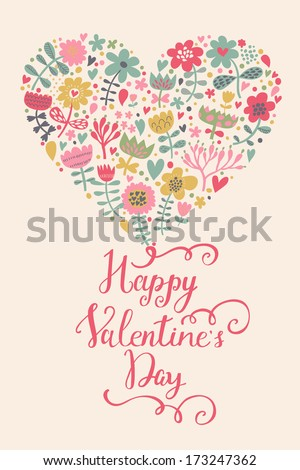 Happy Valentines Day card in bright colors. Stylish floral composition for bright invitation cards in vector - stock vector