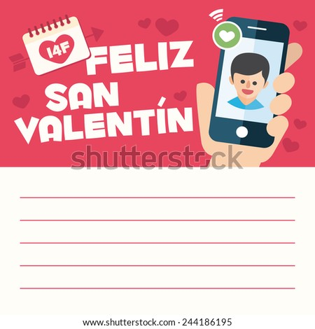Happy Valentines Day Card Letter Hand Stock Vector