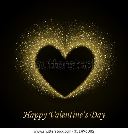Happy Valentines Day Card with Gold Glittering Star Dust Heart, Golden Sparkles on Black Background - stock vector