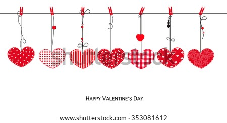 Happy Valentines Day card with hanging Love Valentines hearts vector background - stock vector