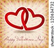 Happy Valentines Day card with heart. Vector illustration - stock photo