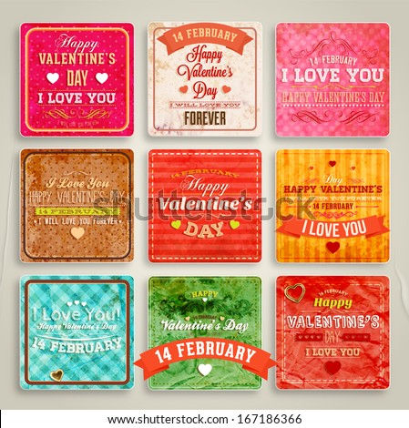 Happy Valentines Day Cards Set for Vintage Holiday Labels Design. Retro Paper Textures. Vector Illustration. - stock vector