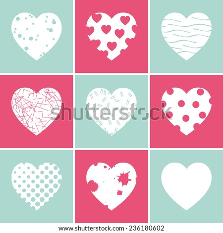 Happy valentines day cards with hearts. - stock vector