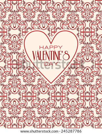 Happy valentines day cards with ornaments. Vector  line graphic design templates - decorative backgrounds with simple patterns. - stock vector