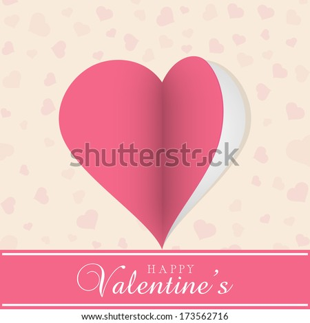 Happy Valentines Day celebration concept with stylish pink heart shape on seamless background.
