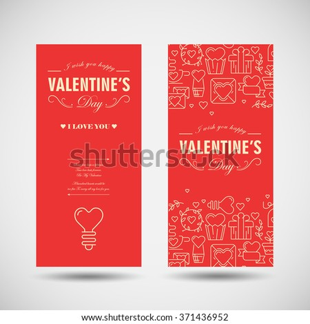 Happy Valentines Day celebration greeting card decorated some icons. Vector Illustration, eps10, contains transparencies. - stock vector