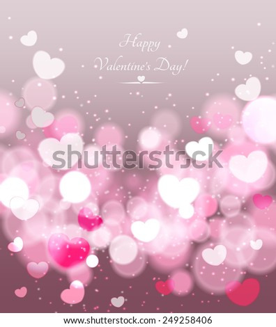 Happy Valentines Day celebration greeting card decorated with pink heart - stock vector