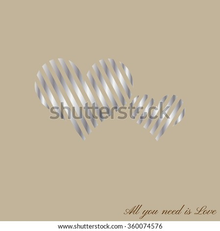 Happy Valentines Day celebration greeting card design with stylish silver hearts shape, can be use as sticker, tag or label. All you need is Love text message