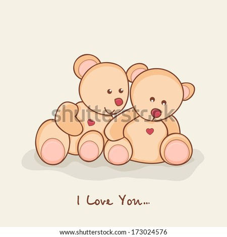 Happy Valentines Day celebration greeting card with cute teddy bears in love on abstract background.