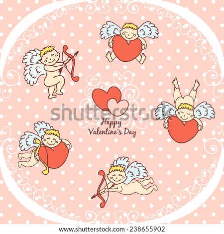 Happy Valentines day. Cupid cute card for Valentine's Day - stock vector