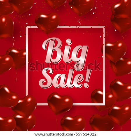 happy valentines day design red background with red hearts border with text and balloons - Valentine Poster