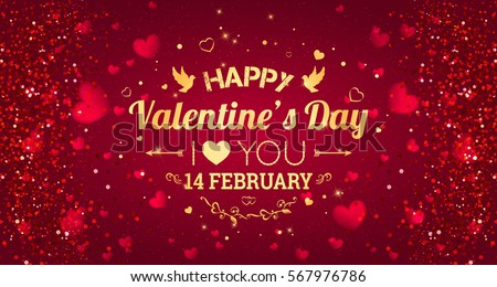 happy valentines day greeting card i love you 14 february holiday background with