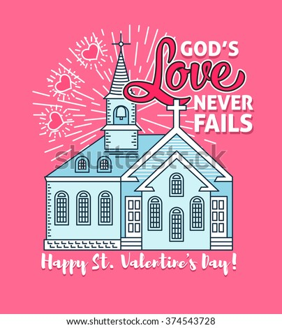Happy Valentines Day Greeting Card Poster Template. Christian Valentines Day  Card For The Church Service