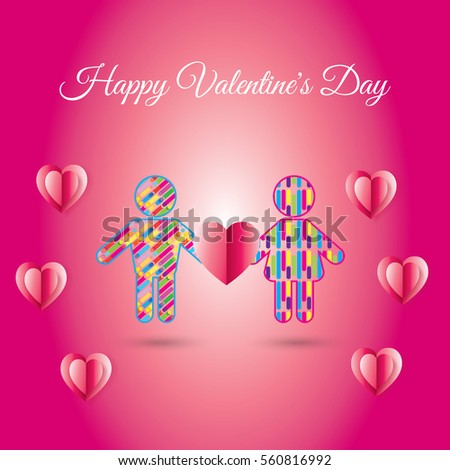 Happy Valentines Day greeting card. Vector illustration. Romantic poster with hearts, man and woman icons abstract background. Love, poster, banner, e-card. Advertising, design Calligraphy silhouette