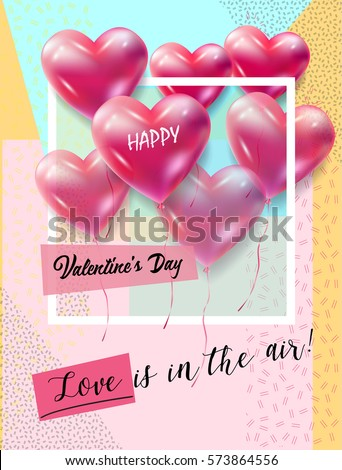happy valentines day greeting card vector template love is in the air lettering