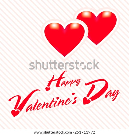 happy valentines day greeting card with red heart background vector
