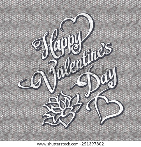 HAPPY VALENTINES DAY hand lettering handmade calligraphy vector - stock vector