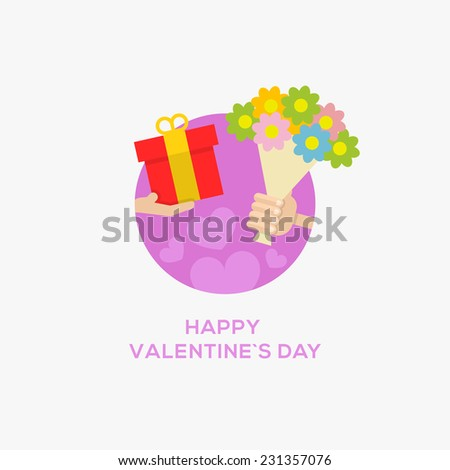 Happy Valentines Day Icon. Hand with gift and bouquet of flower, flat design, vector illustration - stock vector