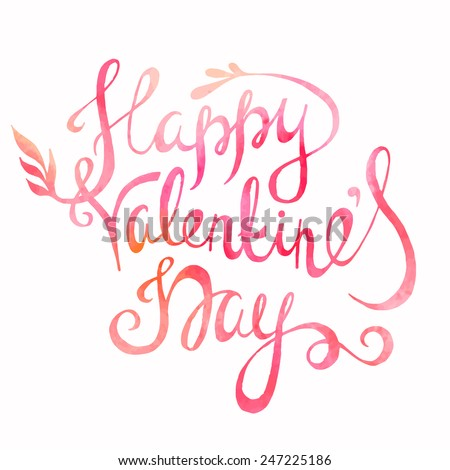 Happy Valentines day lettering - stock vector
